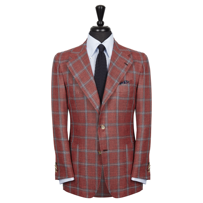 SSM13 - Check Patterned Rose / Light Blue Sport Single Breasted Neapolitan Jacket - Scabal Wool, Silk, Linen Hopsack Weave