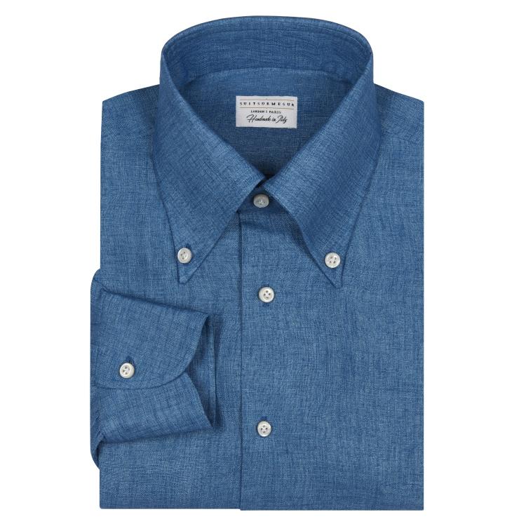 """Chambray """"Denim"""" Linen Button Down Collar Shirt"""