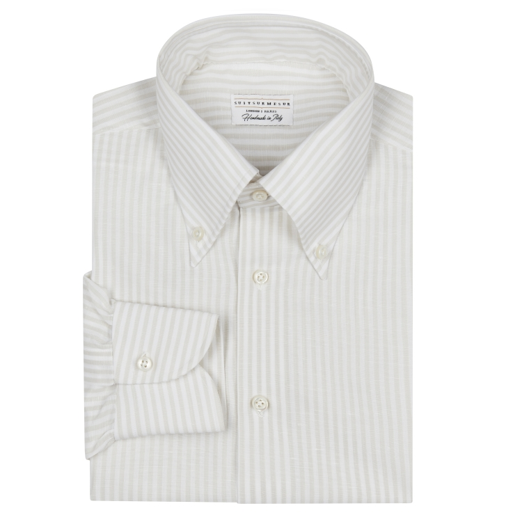 Classic Bengal Gardenia Stripe Button Down Collar Shirt