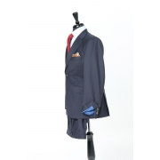 SSM4 - Dark Navy Sharkskin 3-piece Suit - Lightweight 280 g/m² 100% Holland & Sherry Flannel Suit