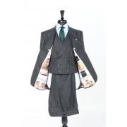 SSM2 - Costume 3 pièces gris foncé à rayures - 100% flanelle épaisse Fox Brothers 370-400 g/m²