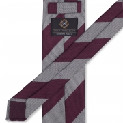 CLASSIC REGIMENTAL SILK/WOOL 3-FOLD UNTIPPED HANDROLLED TIE – BURGUNDY/LIGHT GREY