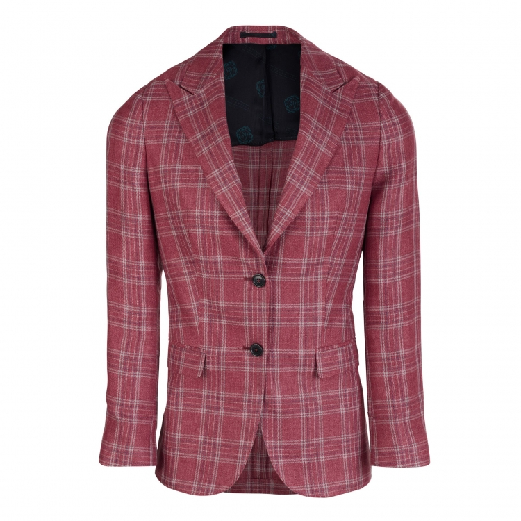 SSM1 – CHECK (OFF RED) SINGLE BREASTED JACKET – LIGHTWEIGHT 260-270 G/M² 100% SOLBIATI (NOBEL) LINEN