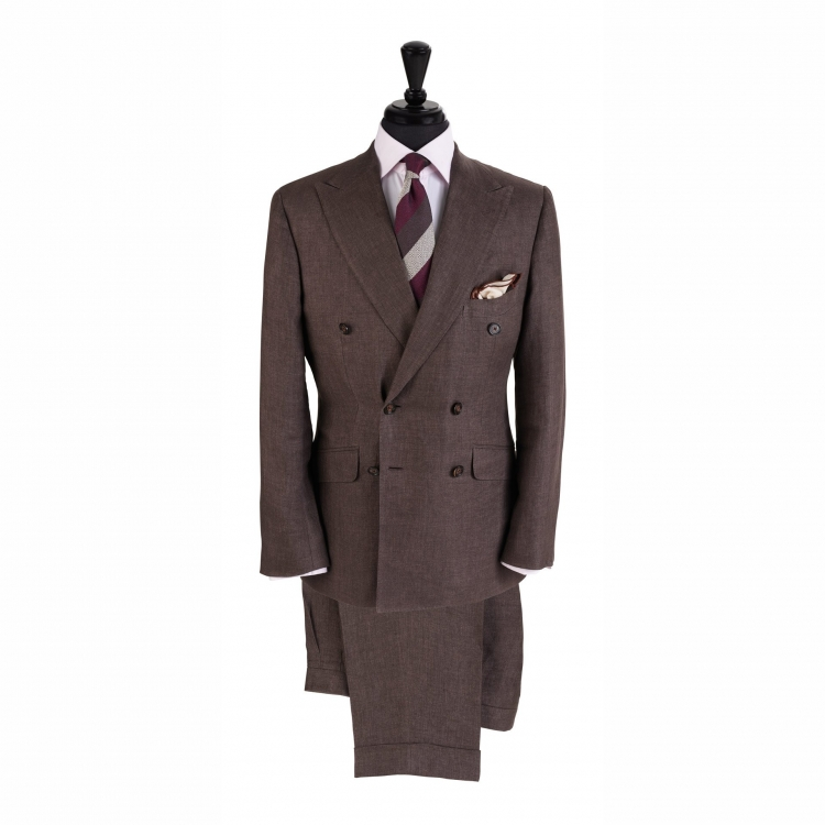 SSM5 – DARK BROWN DOUBLE BREASTED TWO-PIECE SUIT – LIGHTWEIGHT 260-270 G/M² 100% SOLBIATI (NOBEL) LINEN