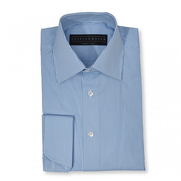 Light blue bengal stripe (half Italian collar) Poplin shirt – 100% cotton Thomas Mason fabric