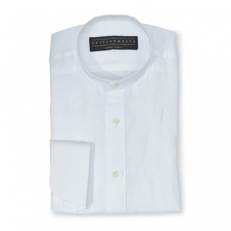 Mao (white band) collar linen shirt - 100% cotton Canclini fabric