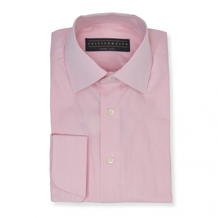 Light pink bengal stripe (half Italian collar) Poplin shirt - 100% cotton Canclini fabric