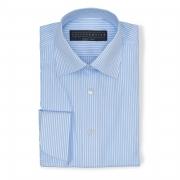 Stripe sky blue (half Italian collar) Poplin shirt - 100% cotton Canclini fabric