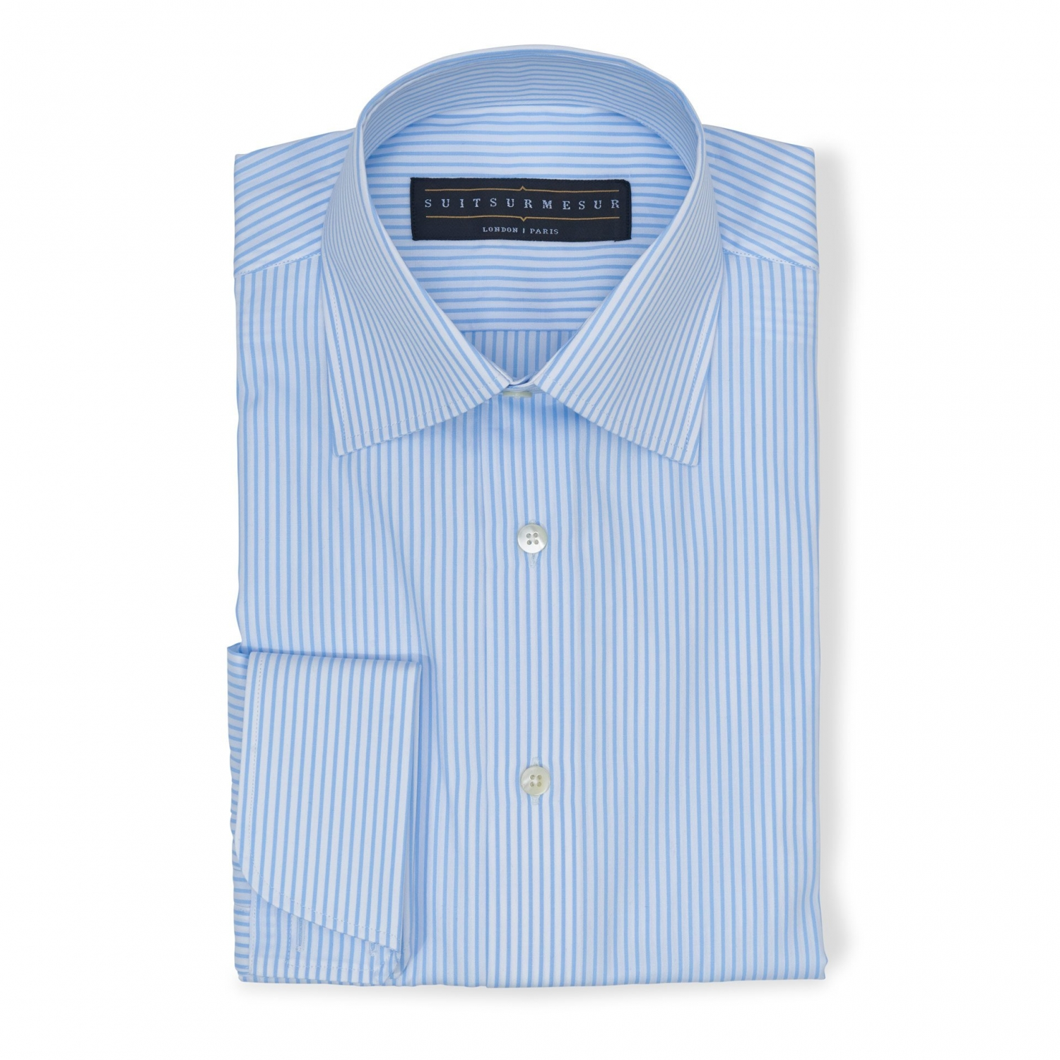 Stripe sky blue (half Italian collar) Poplin shirt - 100% cotton Canclini fabric