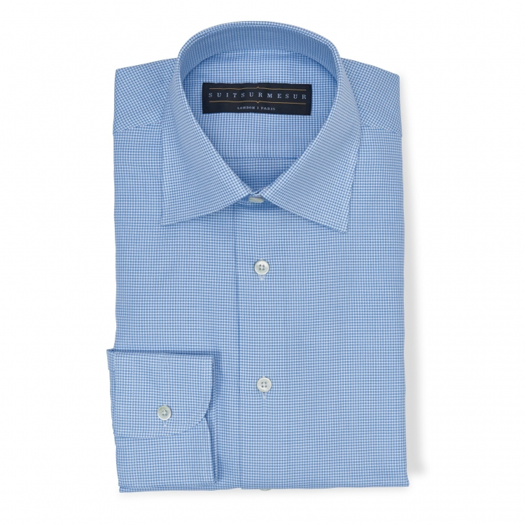 Blue check (half Italian collar) shirt - 100% cotton Canclini fabric