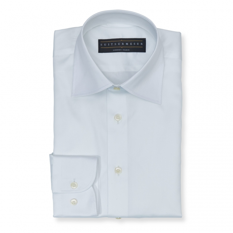 Solid white (half Italian collar) Oxford shirt - 100% cotton Albini 1876 fabric