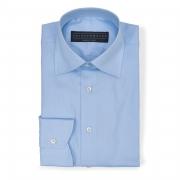 Solid Birdseye light blue (half Italian collar) classic shirt - 100% cotton Thomas Mason fabric