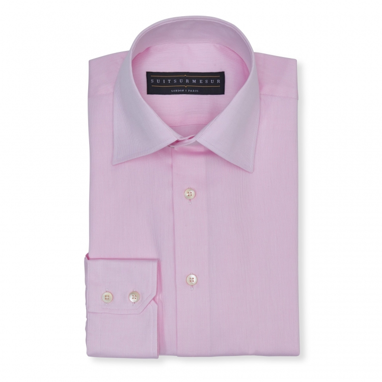 Solid Birdseye light pink (half Italian collar) classic shirt - 100% cotton Soktas fabric