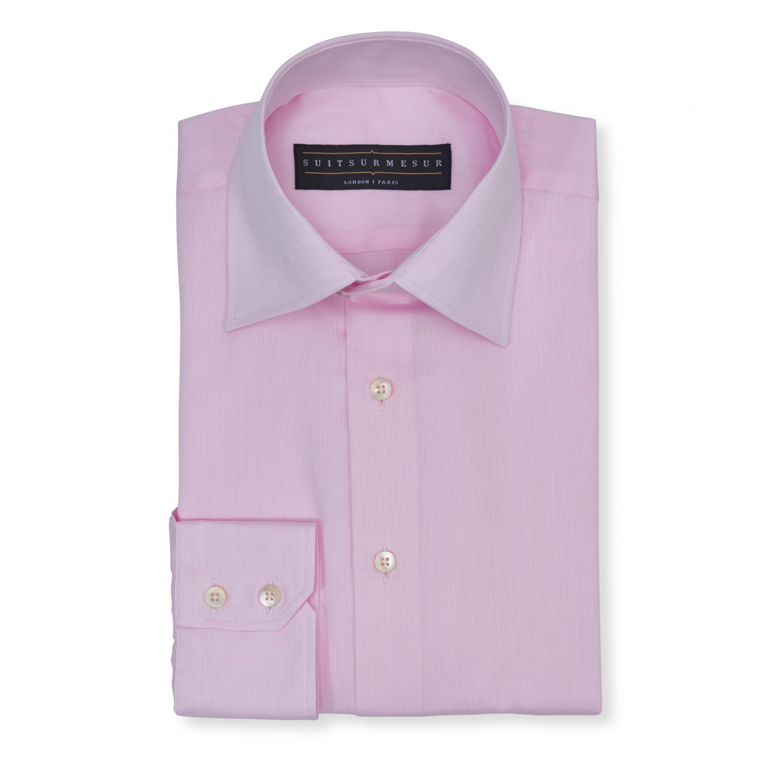 Solid Birdseye light pink (half Italian collar) classic shirt - 100% cotton Soktas fabric