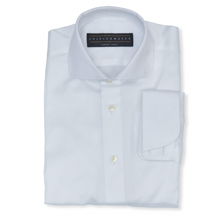 White (round Italian collar) royal classic shirt - 100% cotton Canclini fabric