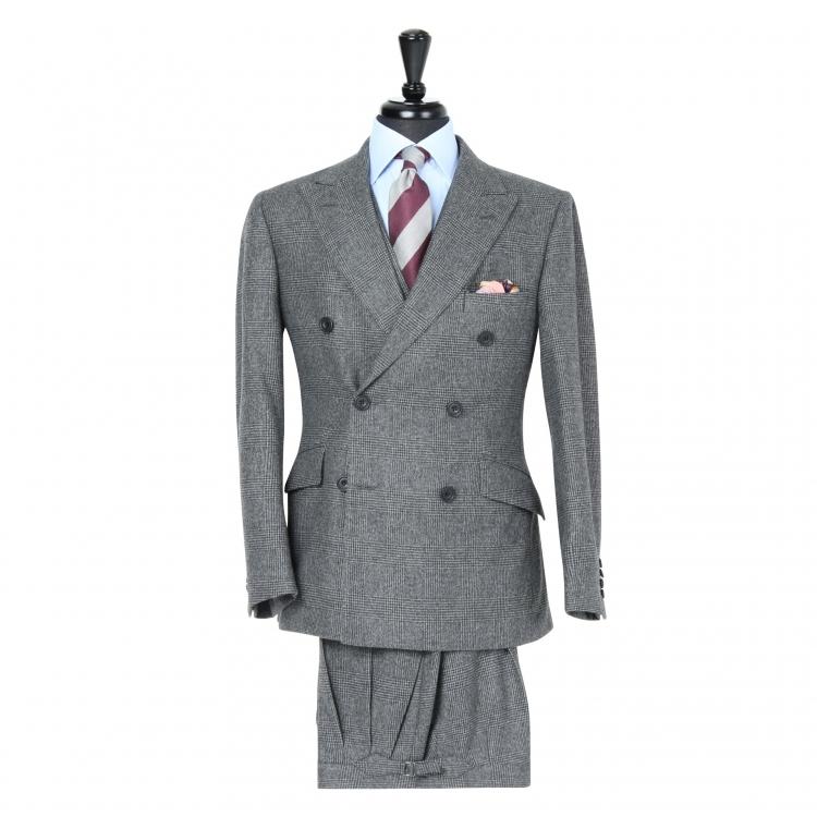 SSM1 - Costume 3 pièces gris foncé à carreaux - 100% Flanelle épaisse Fox Brothers 400-430 g/m²