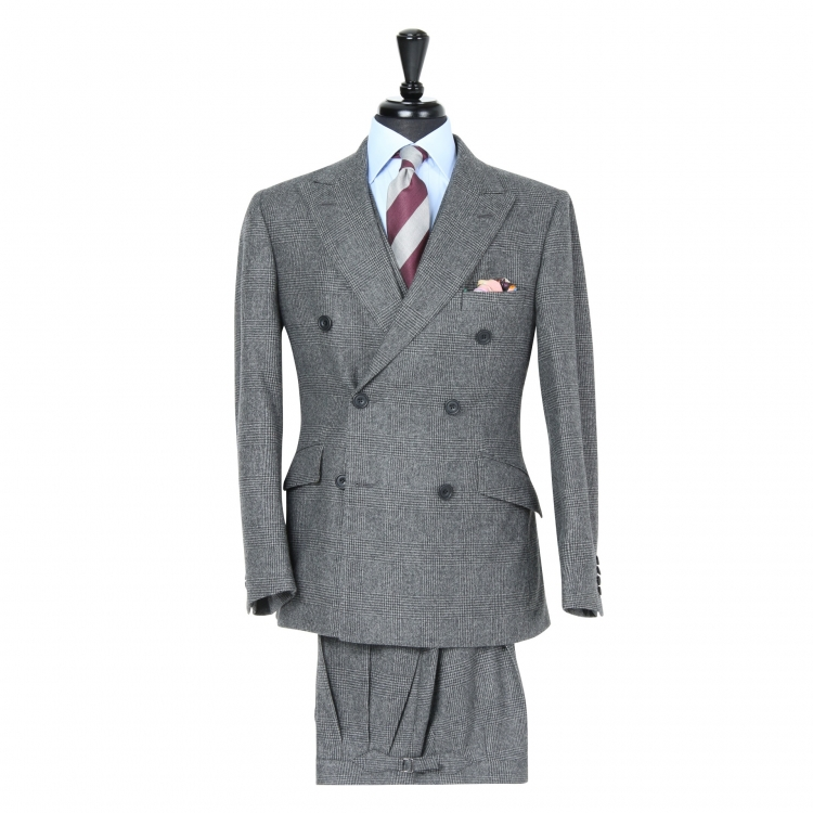 SSM1 - Dark Grey Glen Check 3-piece Suit - Heavyweight 400-430 g/m² 100% Fox Brothers Flannel Suit