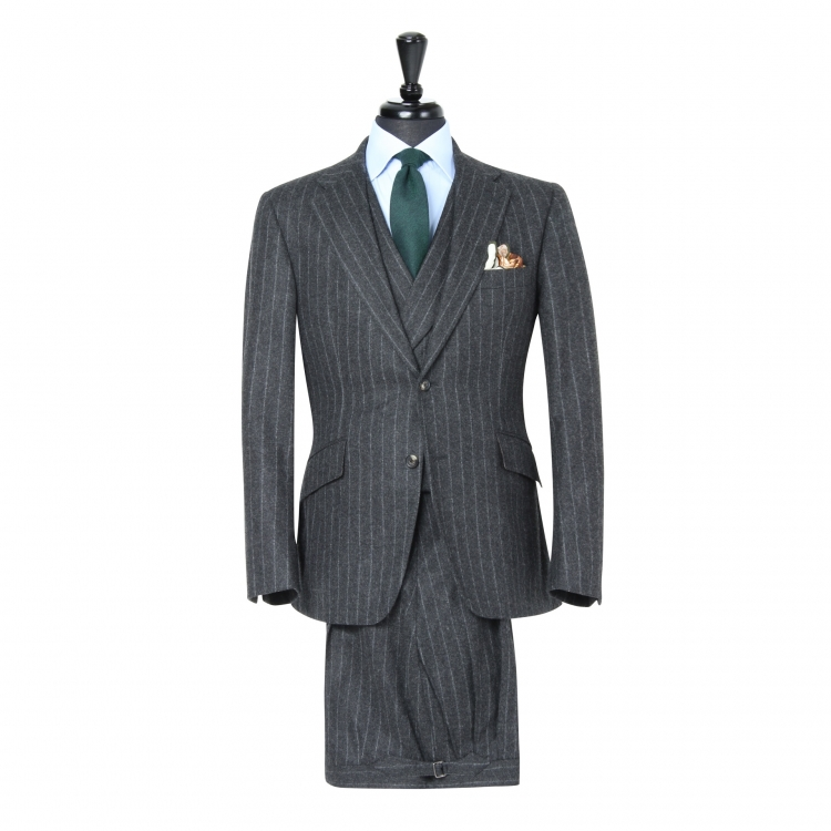SSM2 - Dark Grey Chalk Stripe 3-piece Suit - Heavyweight 370-400 g/m² 100% Fox Brothers Flannel Suit