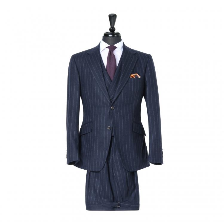 SSM3 - Costume 3 pièces bleu marine à rayures - 100% Flanelle épaisse Fox Brothers 370-400 g/m²
