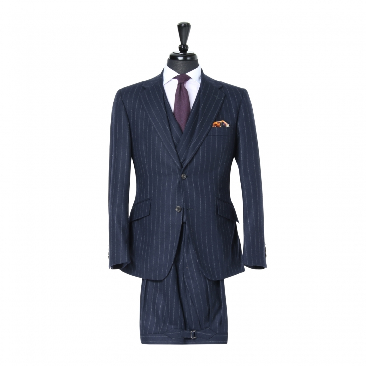 SSM3 - Navy Chalk Stripe 3-piece Suit - Heavyweight 370-400 g/m² 100% Fox Brothers Flannel Suit