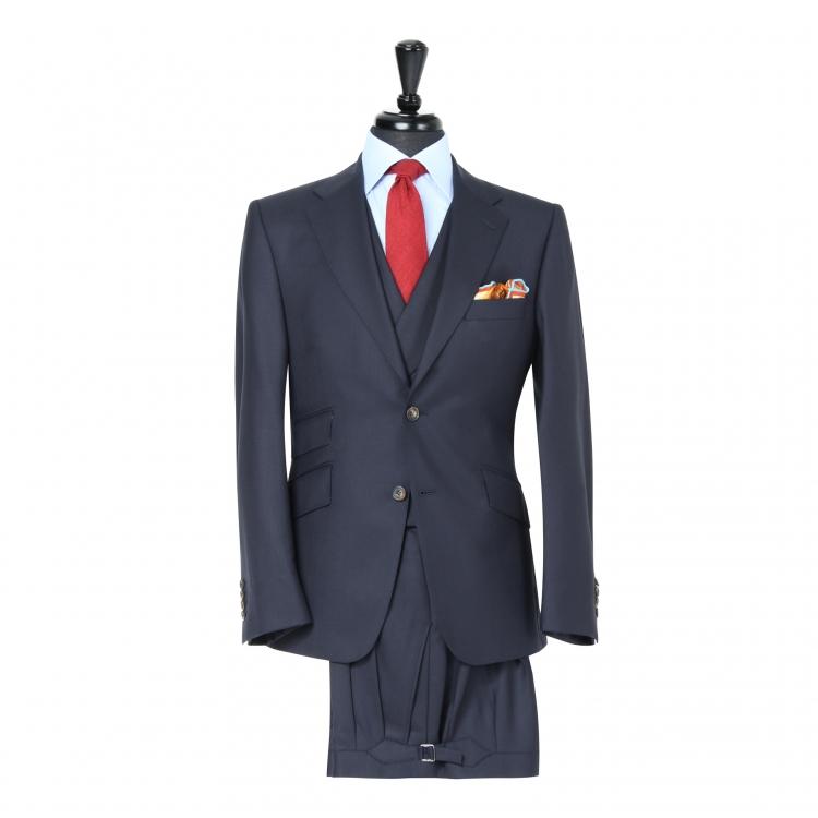 SSM4 - Costume 3 pièces en peau de requin bleu marine foncé - 100% Flanelle légère Holland & Sherry 280 g/m²