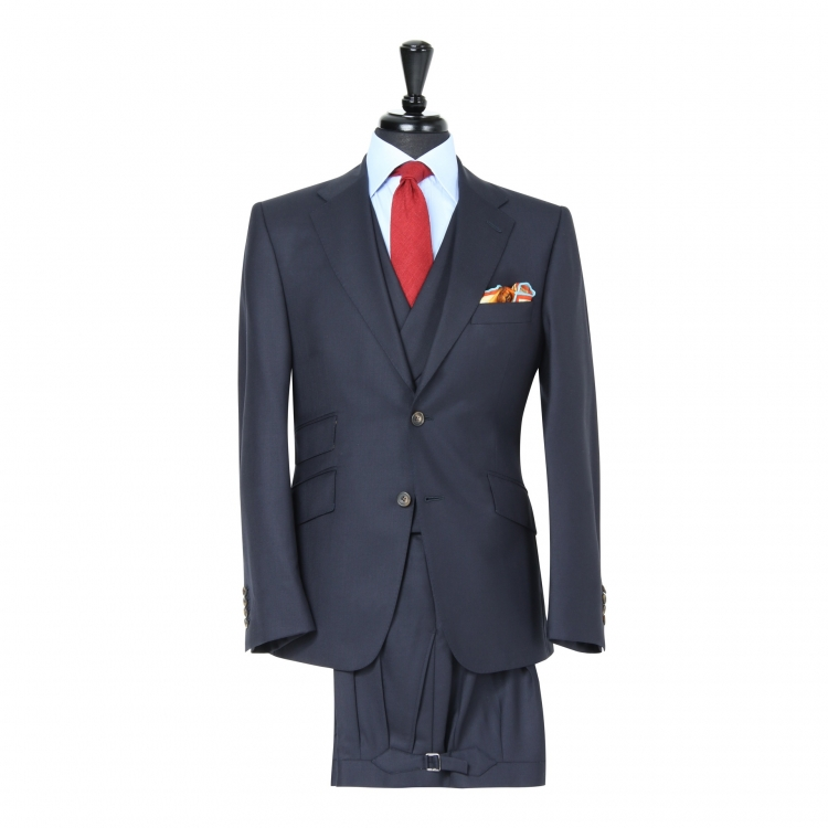 SSM4 - Dark Navy Sharkskin 3-piece Suit - Lightweight 280 g/m² 100% Holland & Sherry Flannel Suit