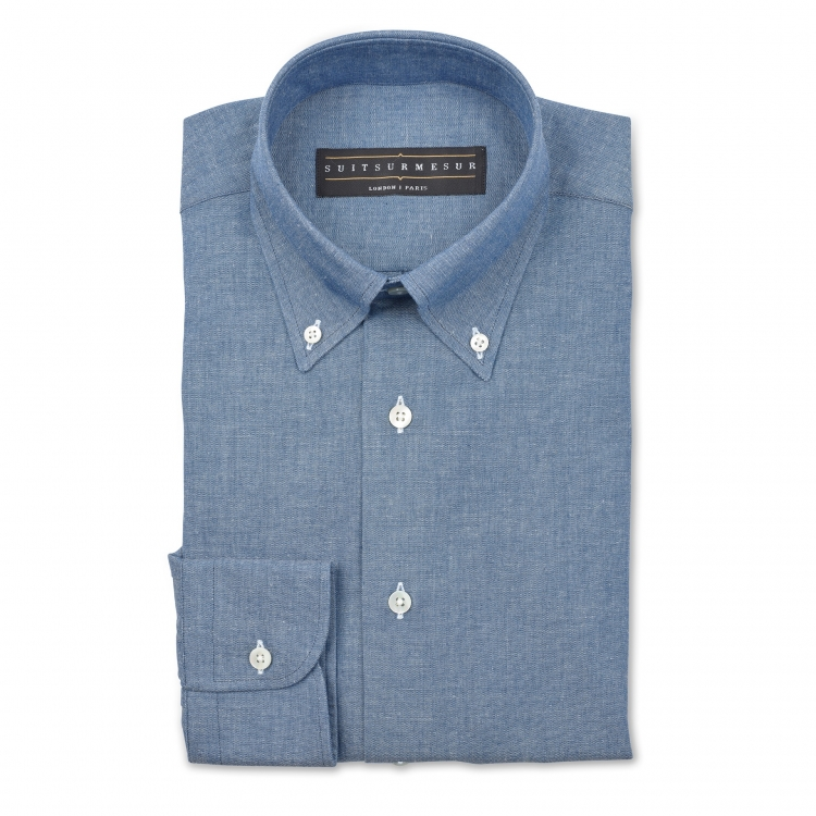 Chambray (OCBD) dress shirt – 100% cotton Canclini fabric
