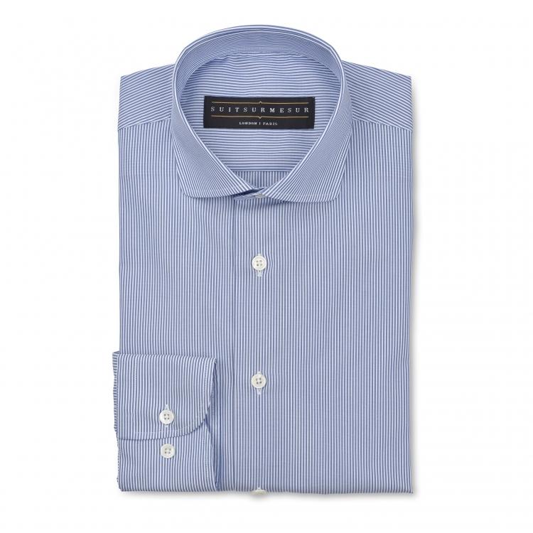 Light blue stripe (round Italian collar) poplin shirt – 100% cotton Soktas fabric – Handmade