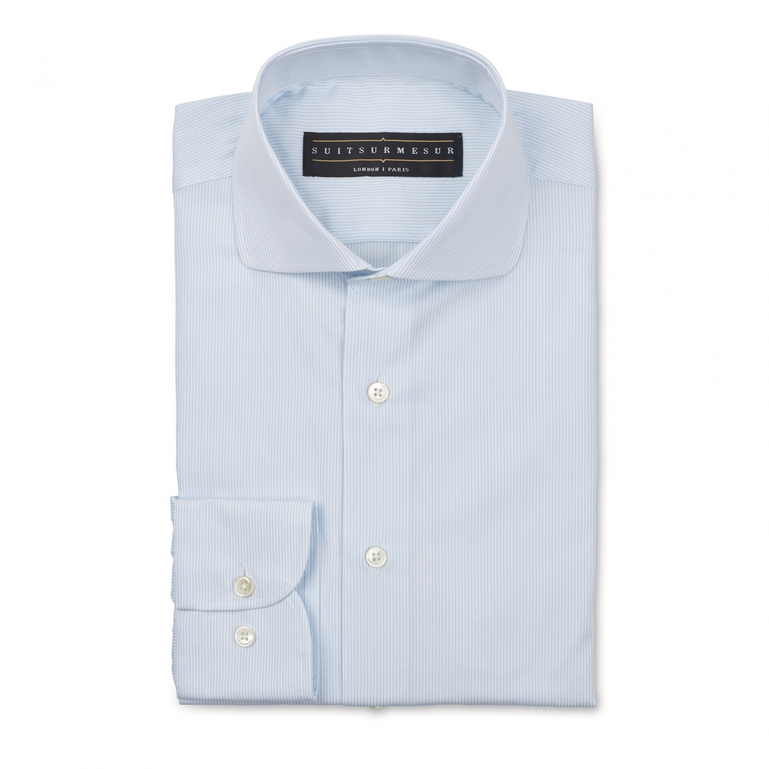 Light blue stripe poplin (half Italian collar) shirt – 100% cotton Canclini fabric
