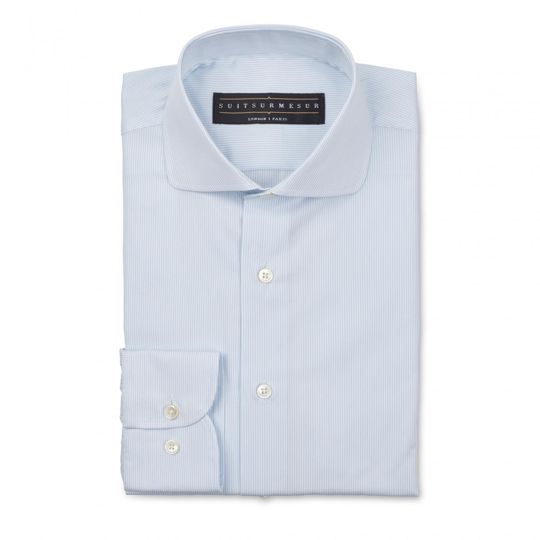 Light blue stripe poplin half Italian collar shirt – 20 cotton ...