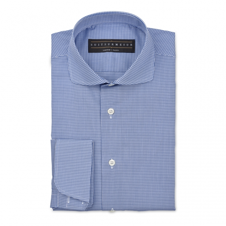 Micro-check (round Italian collar) shirt – 100% cotton #Canclini fabric