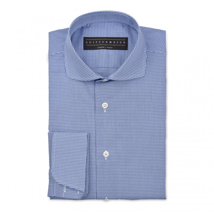 Micro-check (round Italian collar) shirt – 100% cotton Canclini fabric