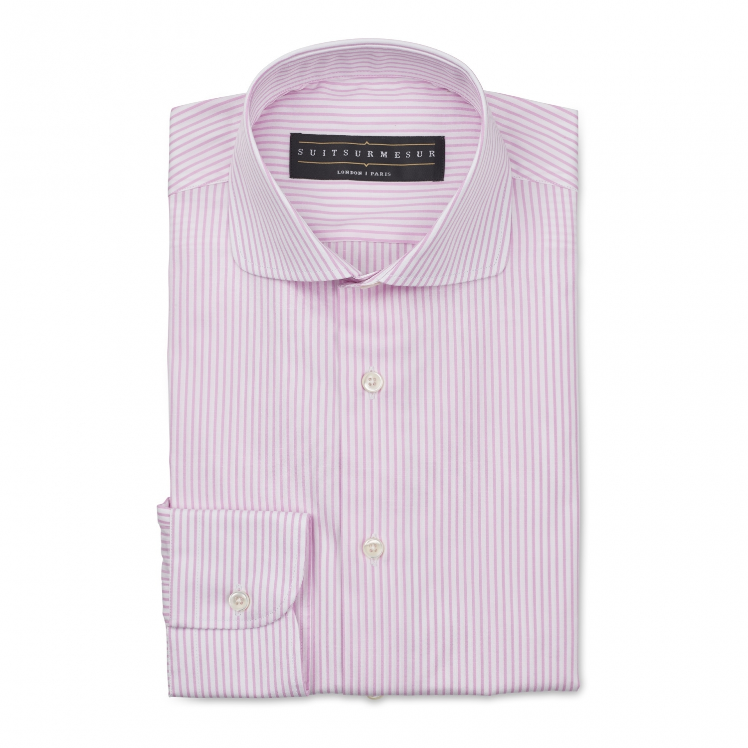 Pink Bengal stripe (round Italian collar) poplin shirt – 100% cotton Canclini fabric