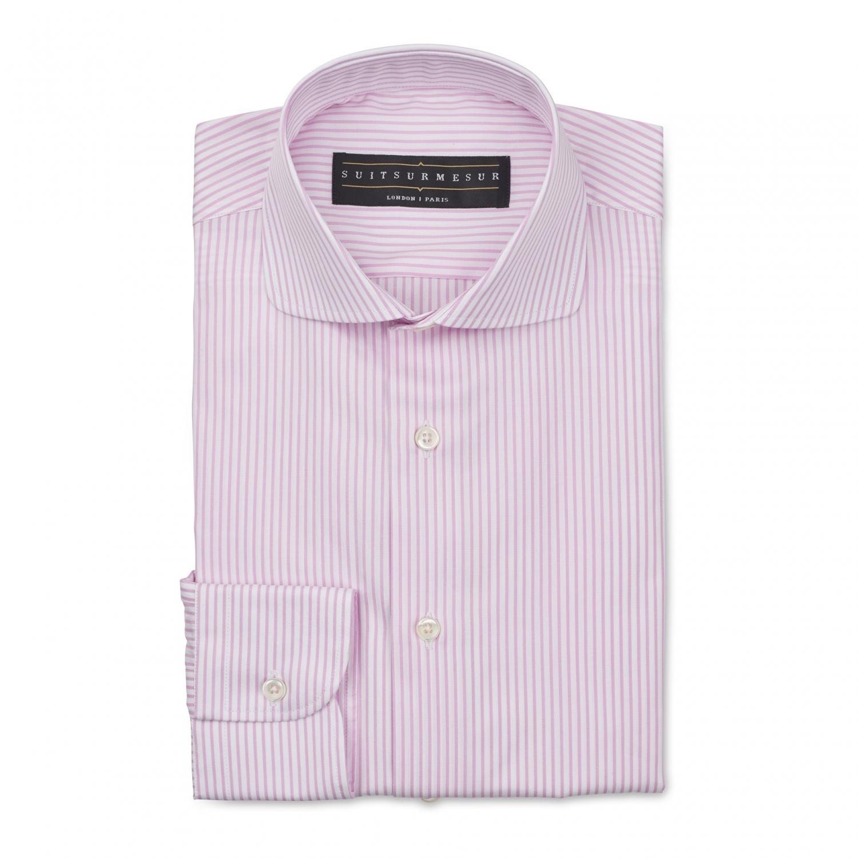 Pink Bengal stripe (round Italian collar) poplin shirt – 100% cotton Canclini fabric