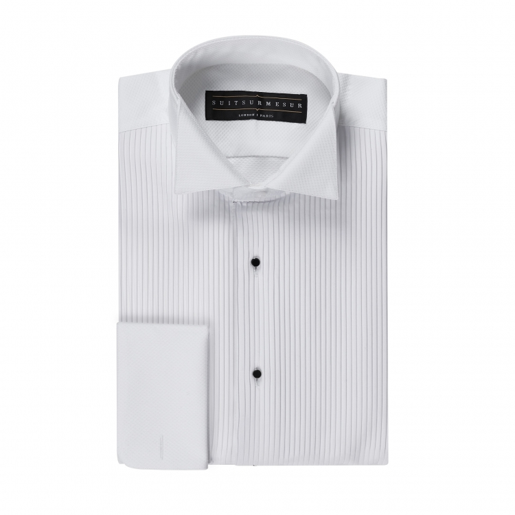 White birdseye (black tie tuxedo) shirt – 100% cotton