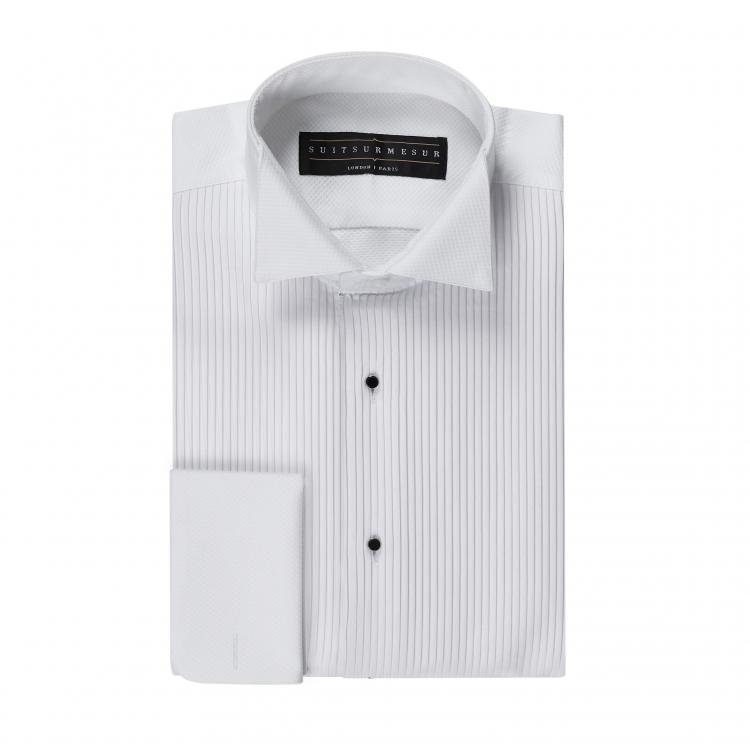 White birdseye (black tie tuxedo) shirt – 100% cotton