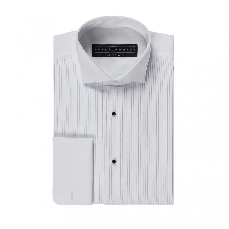White floral (black tie tuxedo) shirt – 100% cotton