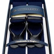 BOXCLOTH BRACES NAVY / BLACK LEATHER