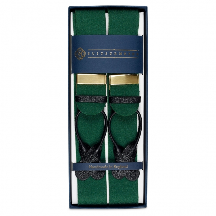 BOXCLOTH BRACES GREEN / BLACK LEATHER