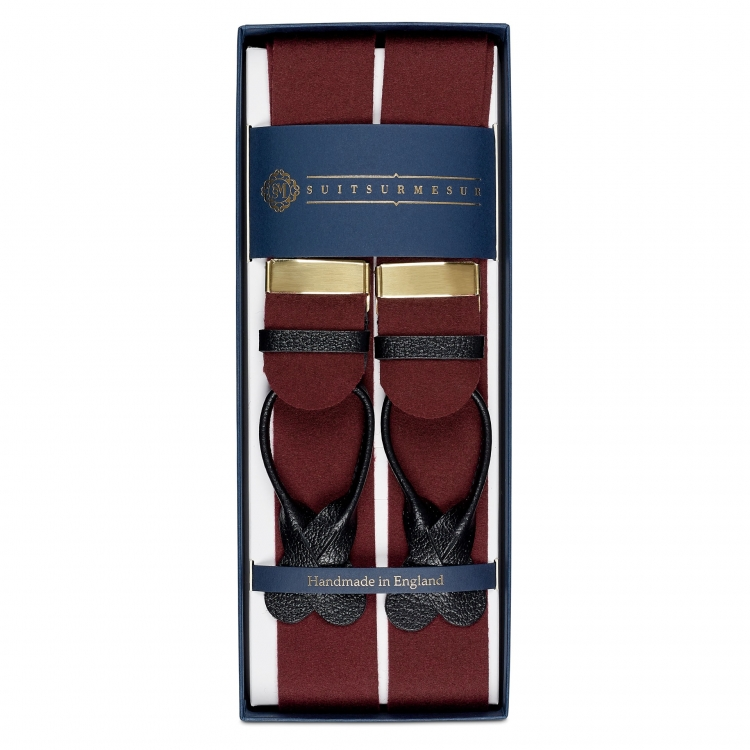 BOXCLOTH BRACES WINE / BLACK LEATHER