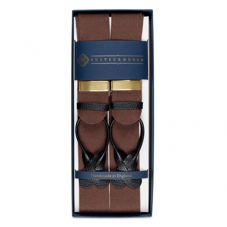 BOXCLOTH BRACES BROWN / BLACK LEATHER