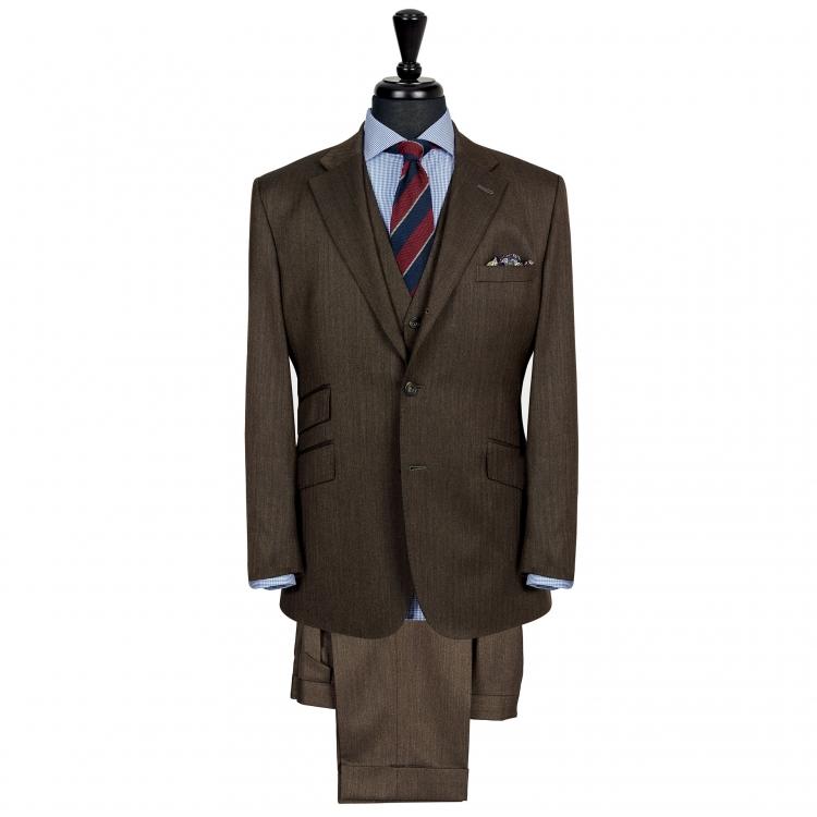 SSM6 - Costume 2 pièces marron foncé à chevrons - 100% laine légère 280g/m² Holland & Sherry