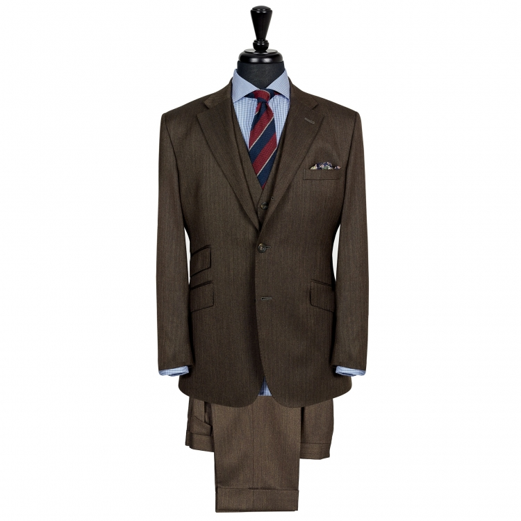 SSM6 – DARK BROWN SINGLE BREASTED THREE-PIECE SUIT – LIGHTWEIGHT 280 G/M² 100% HOLLAND & SHERRY HERRINGBONE WOOL